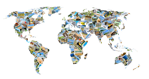 Collection of different photos placed as world map shape